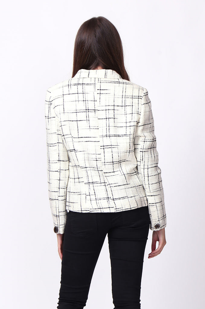 SC0002-CREAM TWEED TARTAN BLAZER JACKET view 3