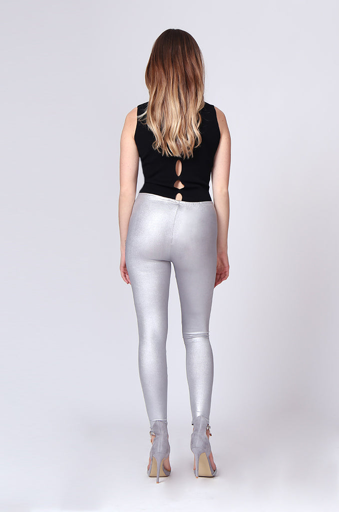 SMT0190-SILVER WET LOOK LEGGING view 3