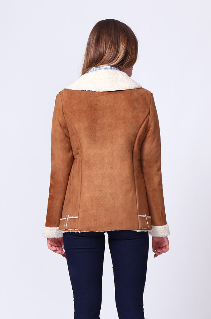 SD0194-TAN SUEDE LONG LINE SHERLING AVIATOR JACKET view 3
