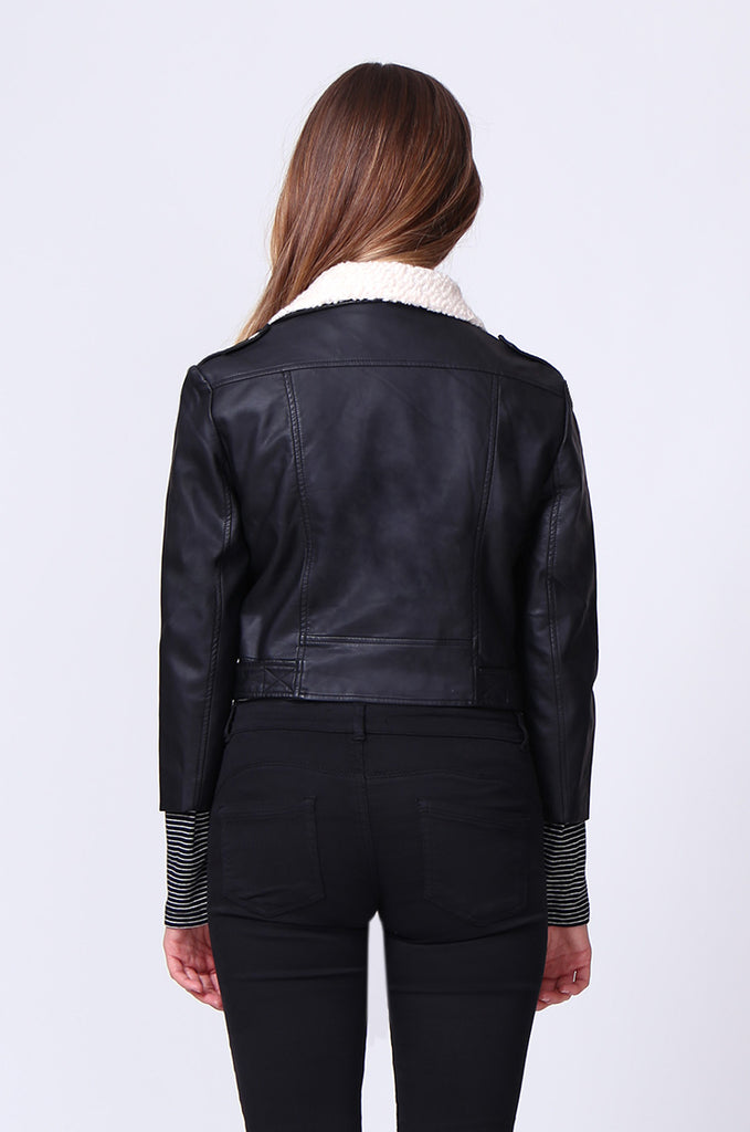 SD0195-BLACK MOTO PU BIKER JACKET view 3