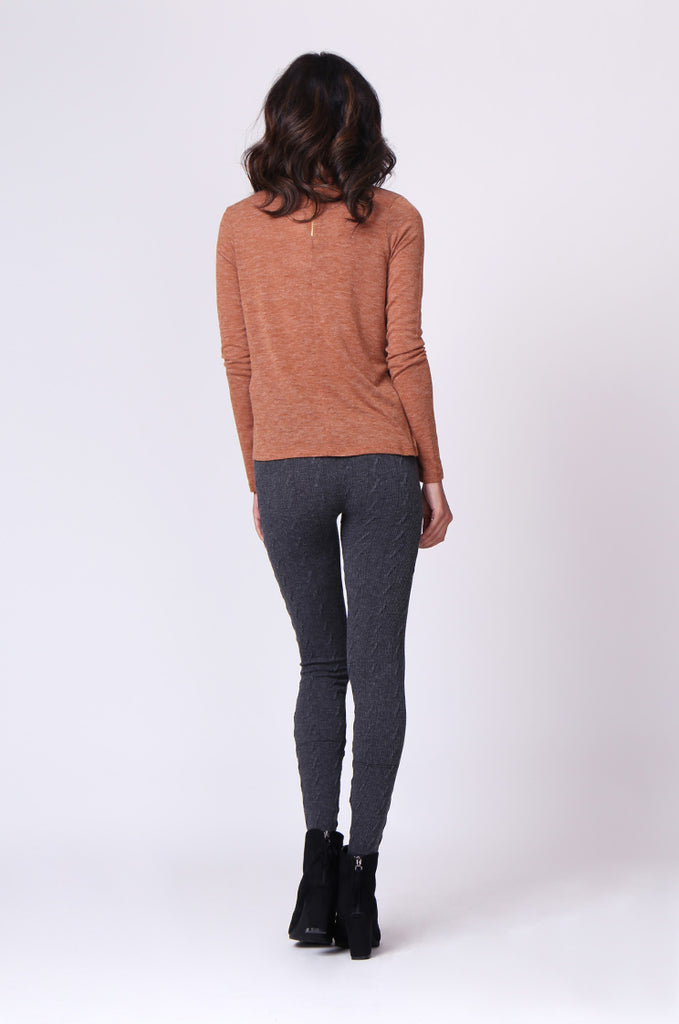 SP0126-GREY BASIC CABLE KNIT LEGGING view 3