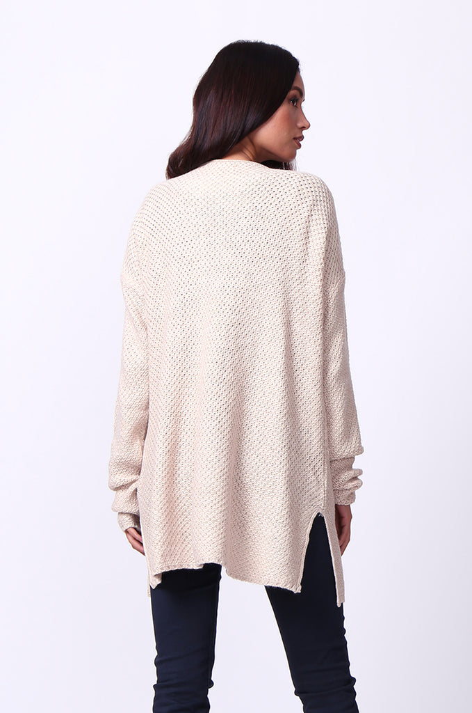 WAFFLE KNIT CREW NECK JUMPER view 3