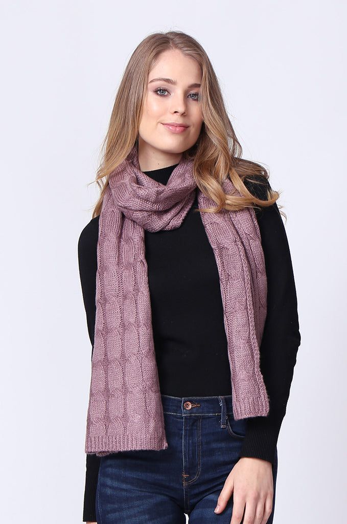 SMC0091-PINK WIDE CABLE KNIT SCARF