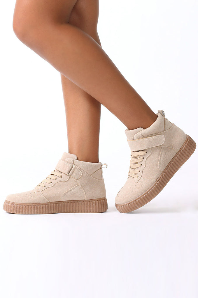 SMJ0040-STONE SUEDE HIGH TOP TRAINER