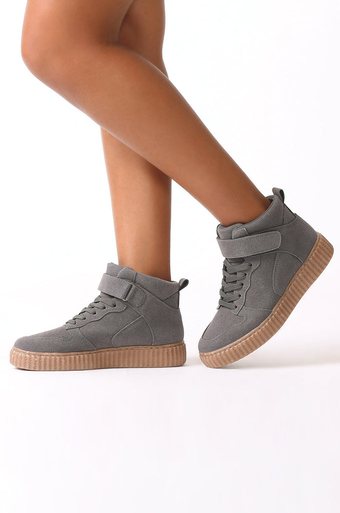 SMJ0040-GREY SUEDE HIGH TOP TRAINER