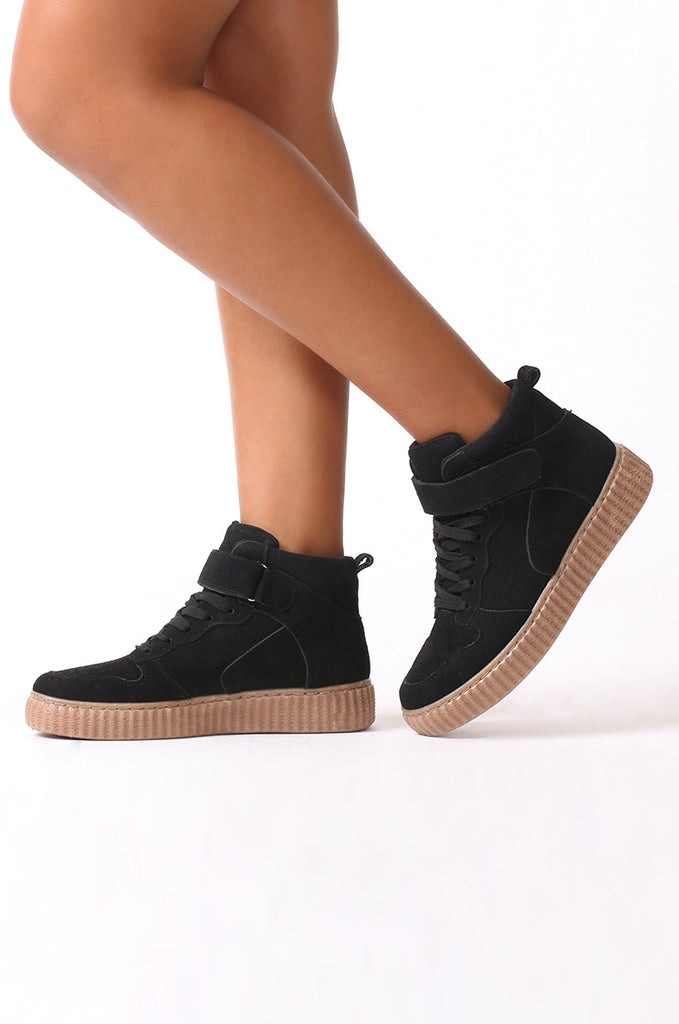SMJ0040-BLACK SUEDE HIGH TOP TRAINER