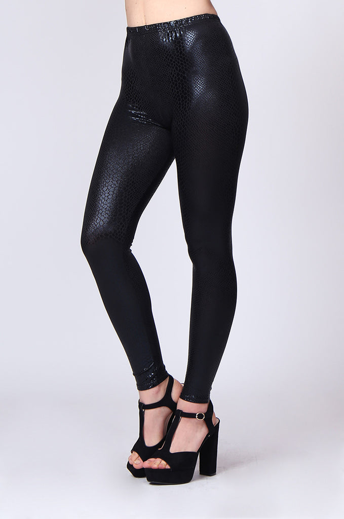 SMT0185-BLACK SNAKE PRINT WET LOOK LEGGING view 4