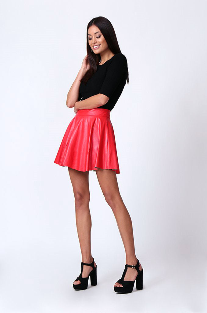 SP0120-RED LEATHERETTE SKATER SKIRT view 4