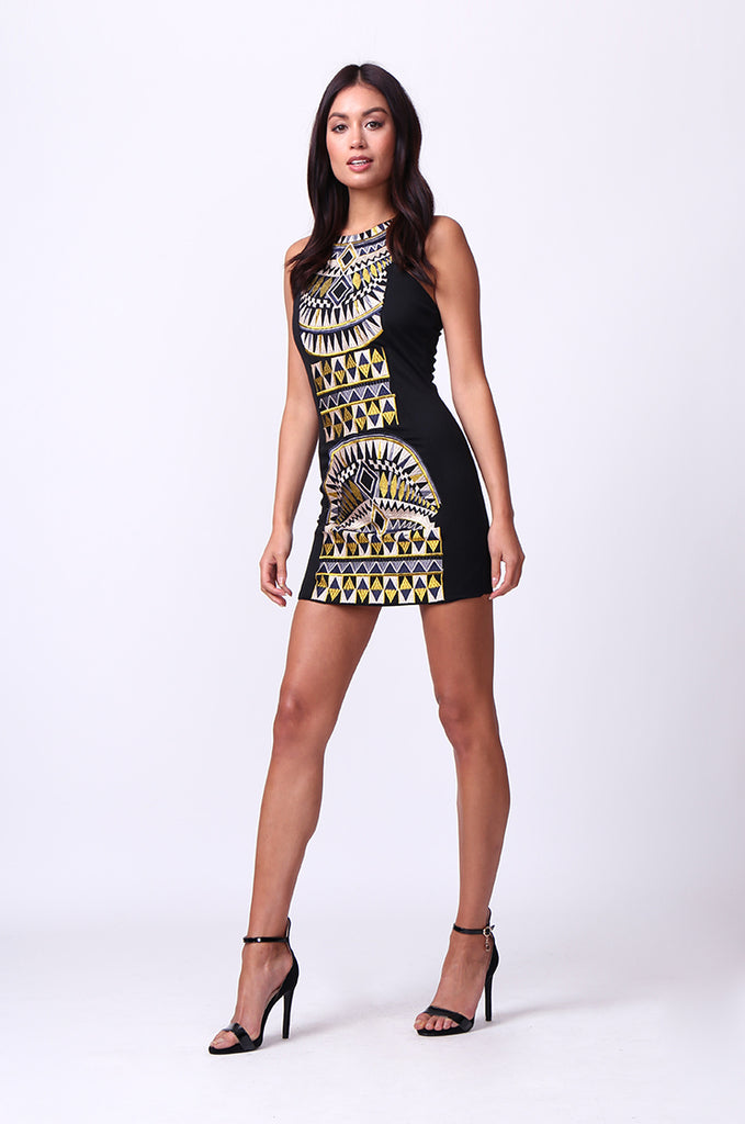 SD0011-BLACK AZTEC MINI DRESS view 4