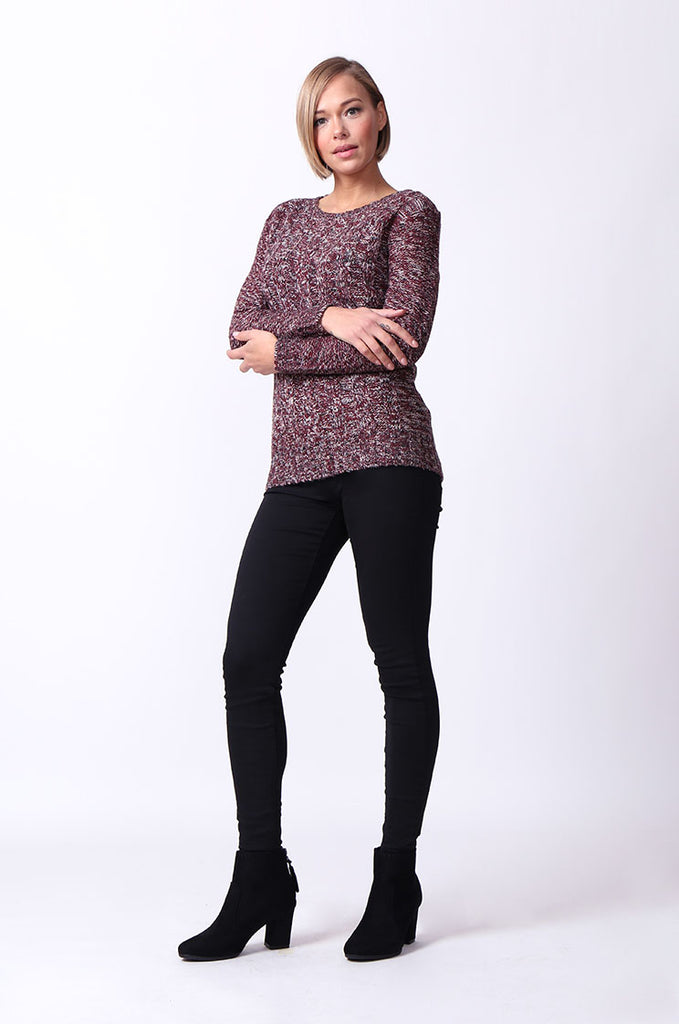 SF0072-ROSE TWEEDY LONG SLEEVE CABLE KNIT JUMPER view 4