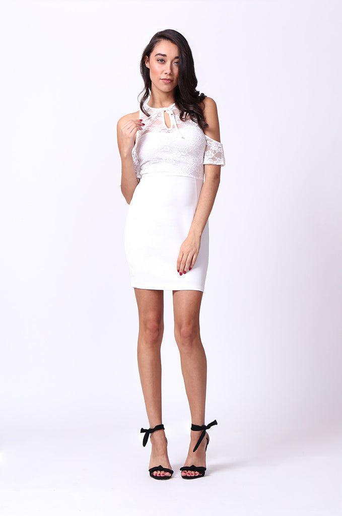 SPF0015-CREAM COLD SHOULDER LACE MINI DRESS view 4