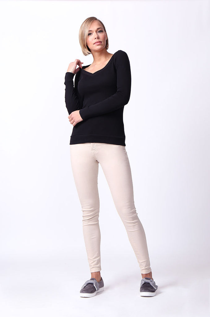 SF0064-BLACK BASIC V-NECK LONG SLEEVE TEE view 4