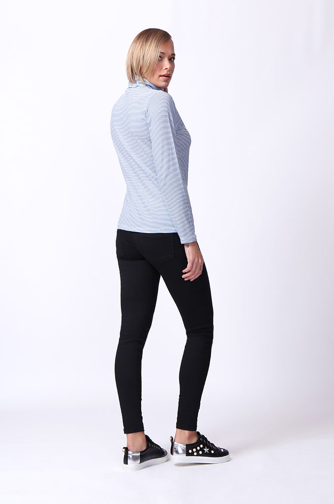 SF0024-BLUE STRIPED LONG SLEEVE BASIC TURTLENECK view 4