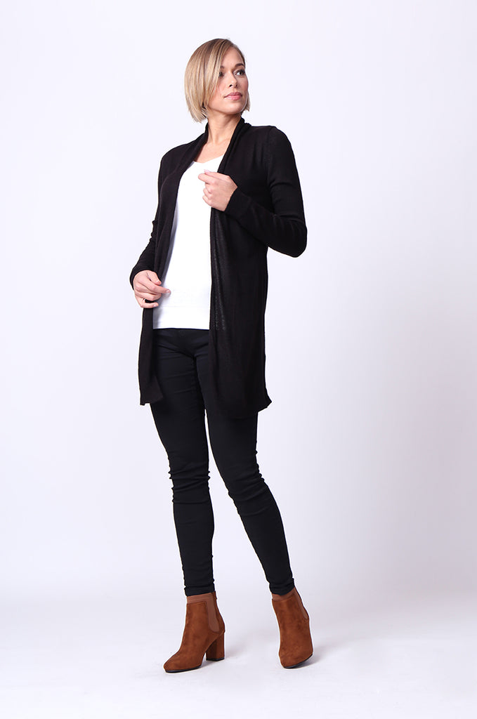 SF0097-BLACK LONG SLEEVE ROLL EDGE CARDIGAN TOP view 4