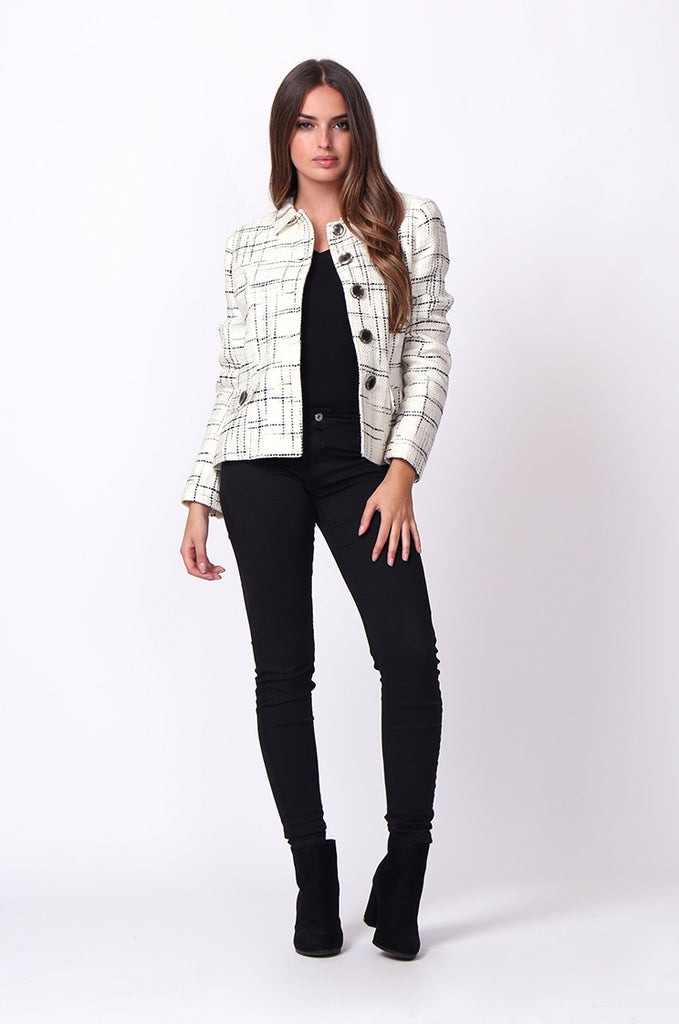 SC0002-CREAM TWEED TARTAN BLAZER JACKET view 4