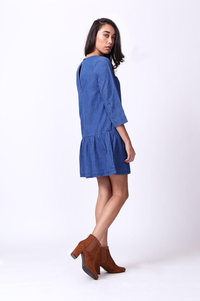 SF0030-DARK BLUE DROP WAIST DENIM DRESS