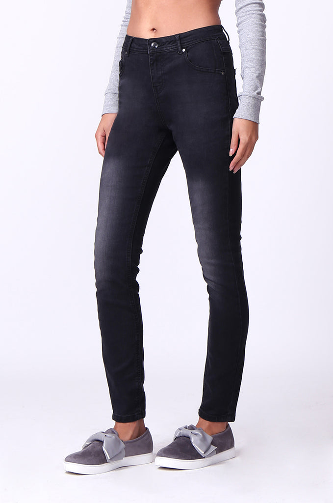 SF0099-BLACK WASHED SKINNY JEANS view 4