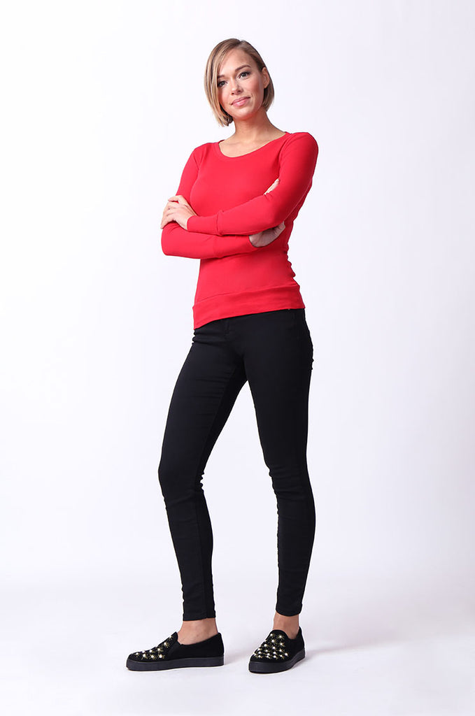 SF0063-RED BASIC SCOOP NECK LONG SLEEVE TEE view 4