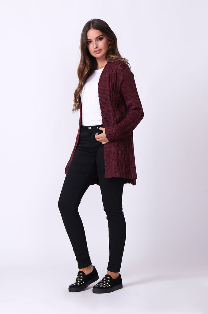 SF0067-WINE LONGLINE CABLE KNIT CARDIGAN view 4