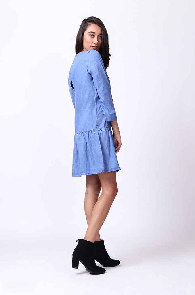 SF0030-BLUE DROP WAIST DENIM DRESS