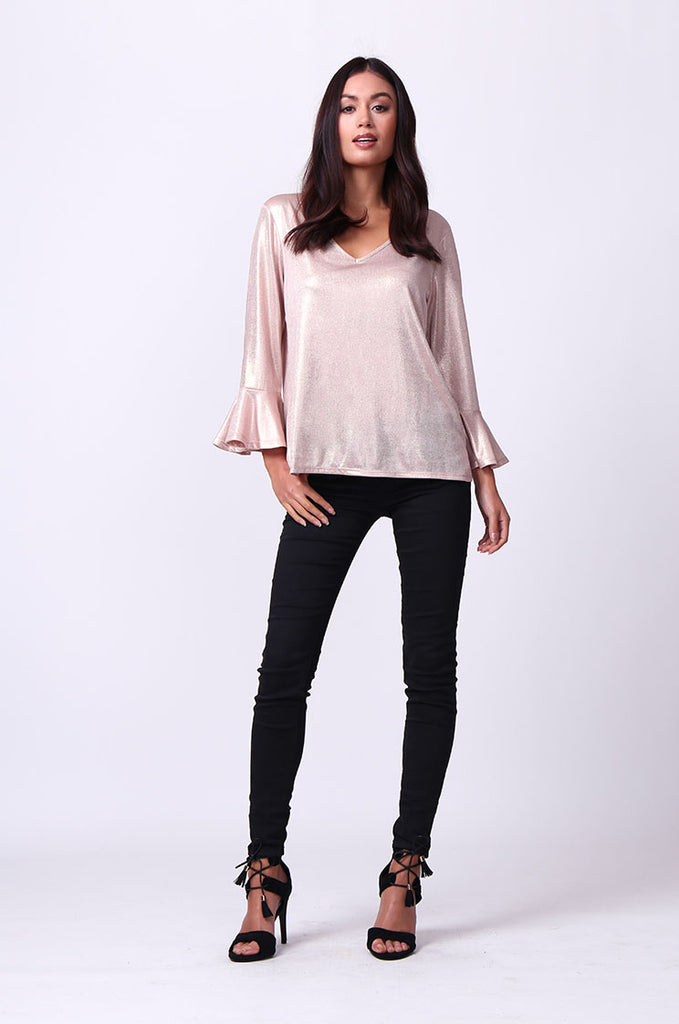 SC0004-PINK METALLIC FLUTED SLEEVE TOP view 4