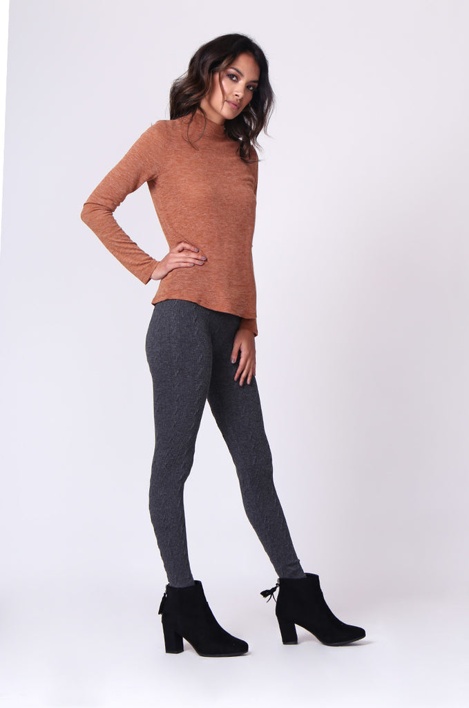 SP0126-GREY BASIC CABLE KNIT LEGGING view 4