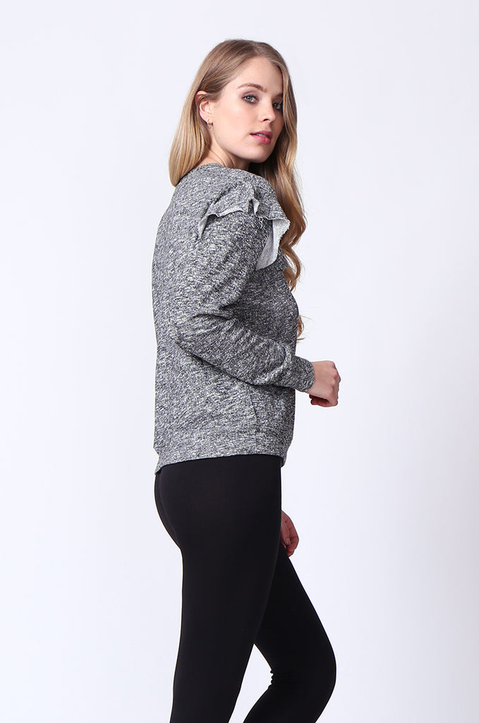 SJ0170-DARK GREY FRILLY SWEATSHIRT view 4