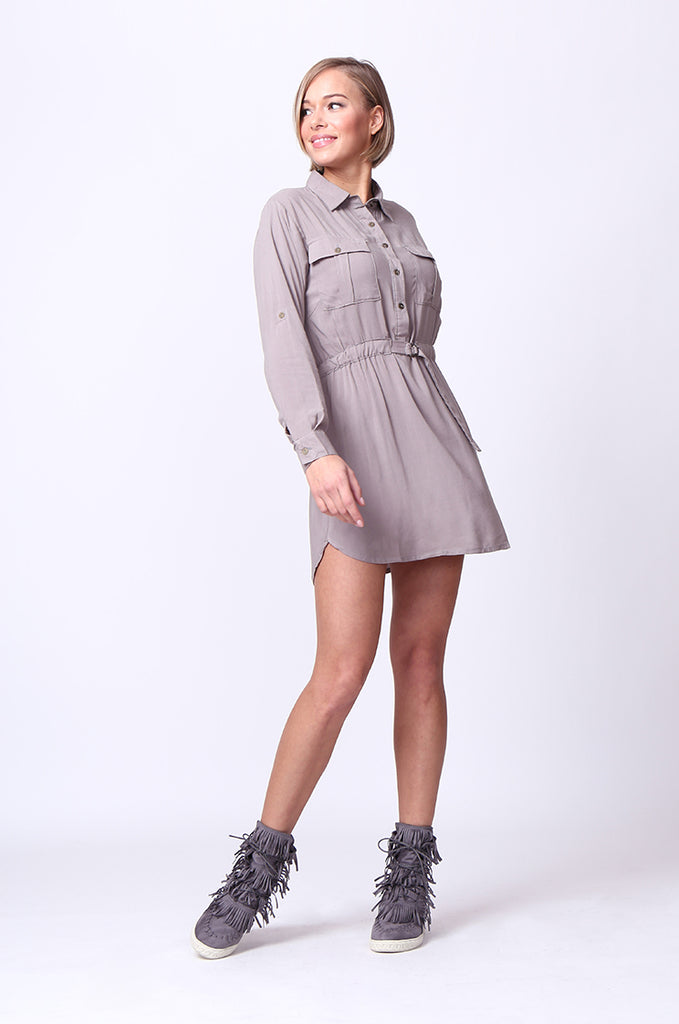 SF0093-GREY LONG SLEEVE BELTED SHIRT DRESS view 4