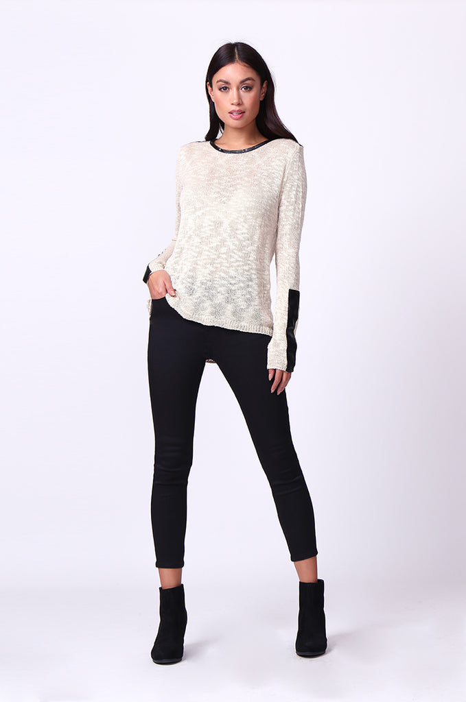 SP0134-CREAM LEATHERETTE TRIM LONG SLEEVE JUMPER view 4