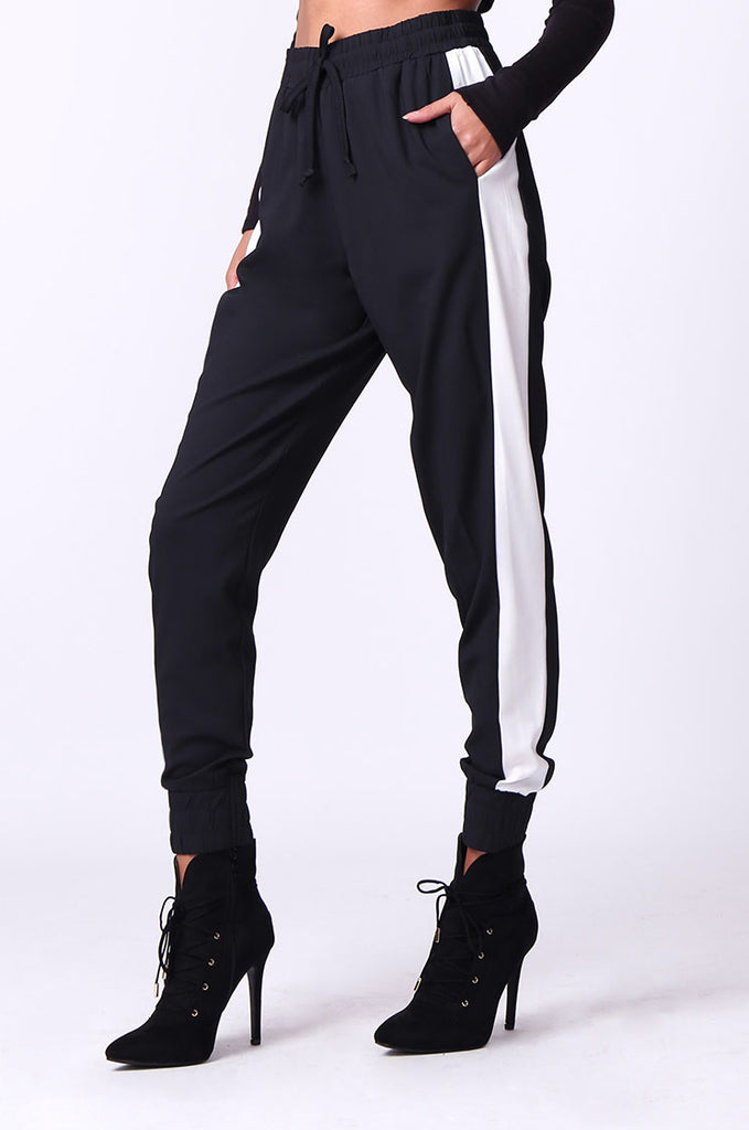SP0135-BLACK SIDE STRIPE PANT view 4