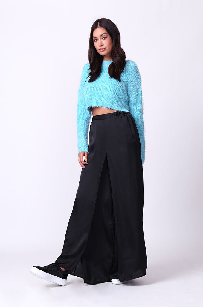 SP0132-BLUE MOHAIR LONG SLEEVE CROP JUMPER view 4