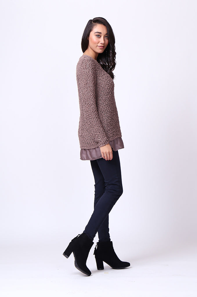 SF0022-BROWN BOUCLE CREWNECK LONG SLEEVE JUMPER view 4