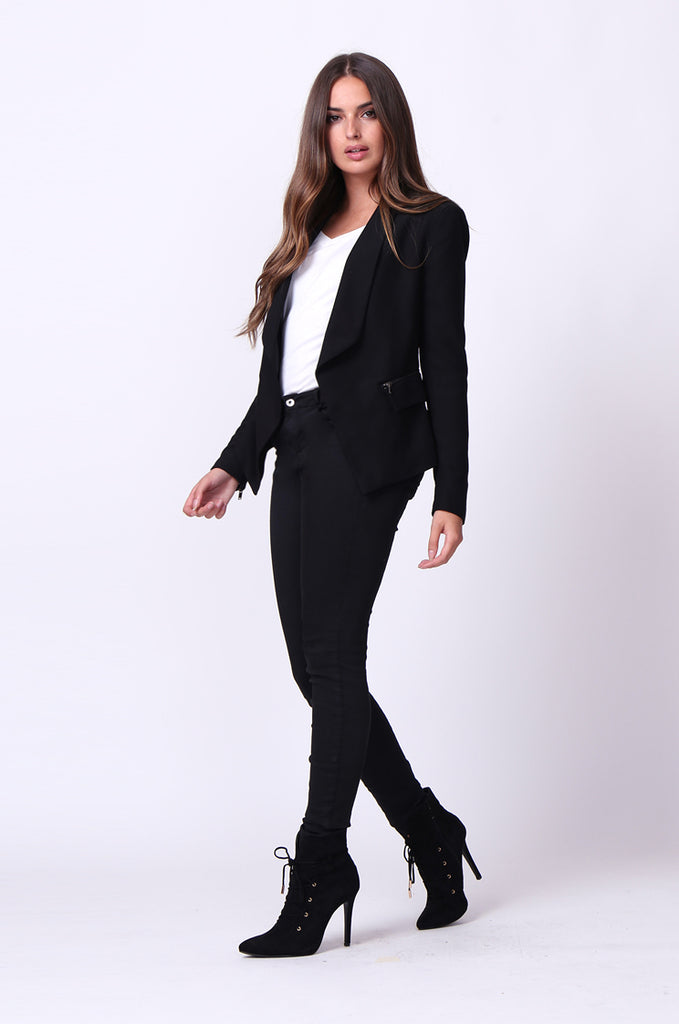 SC0001-BLACK ZIP POCKET BASIC BLAZER JACKET view 4