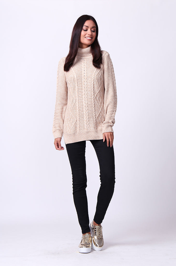 SF0100-BEIGE LONG SLEEVE CABLE KNIT TURTLENECK JUMPER view 4