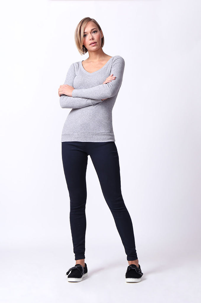 SF0064-GREY BASIC V-NECK LONG SLEEVE TEE view 4