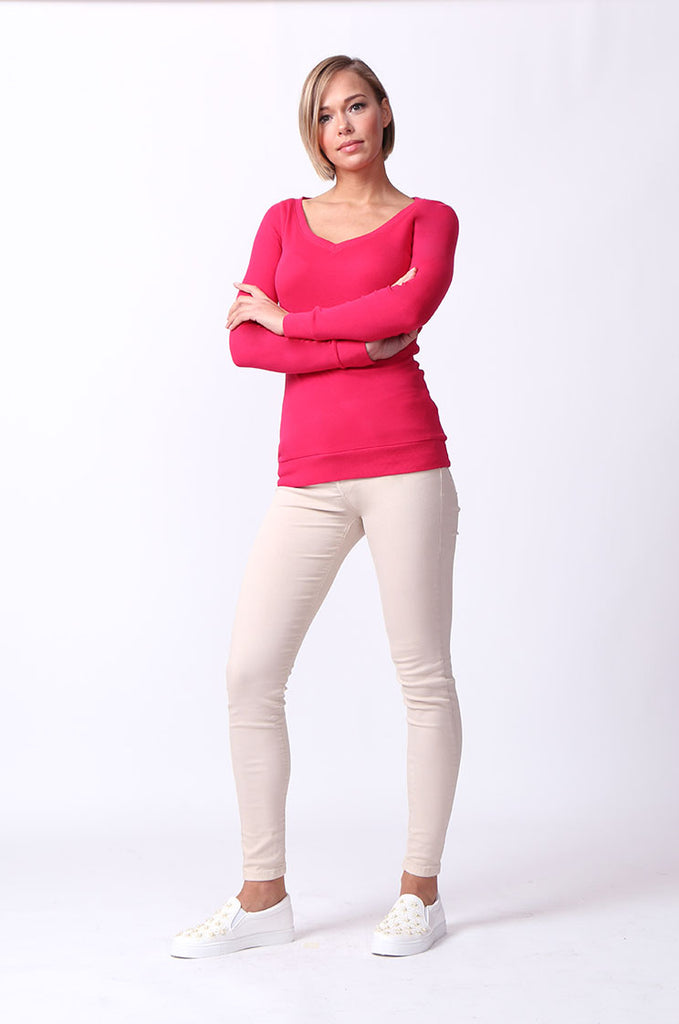 SF0064-PINK BASIC V-NECK LONG SLEEVE TEE view 4