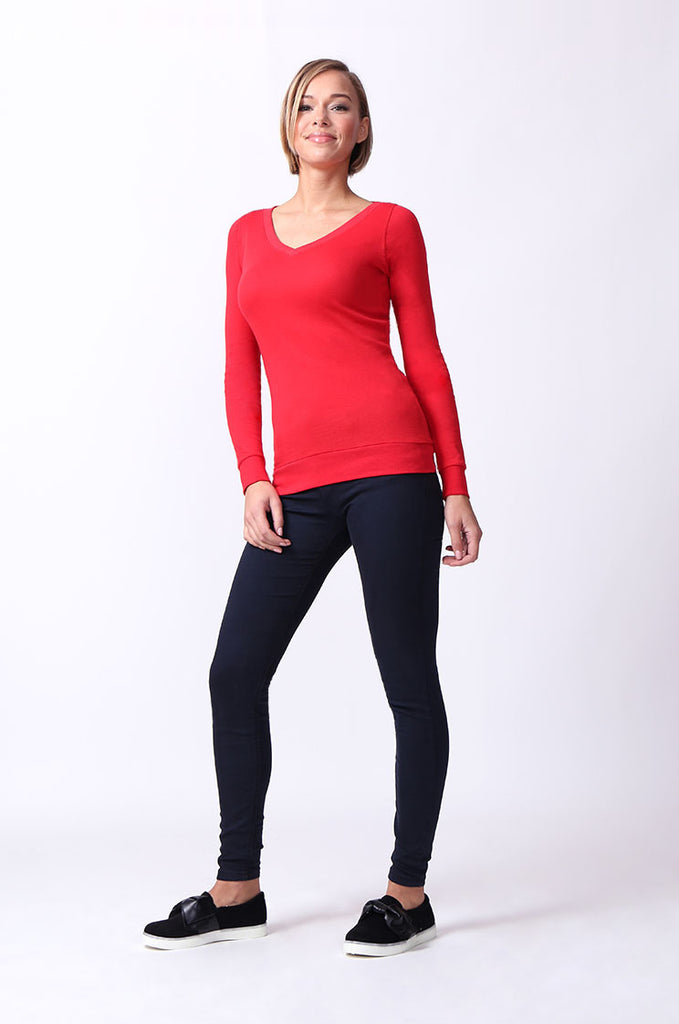 SF0064-RED BASIC V-NECK LONG SLEEVE TEE view 4
