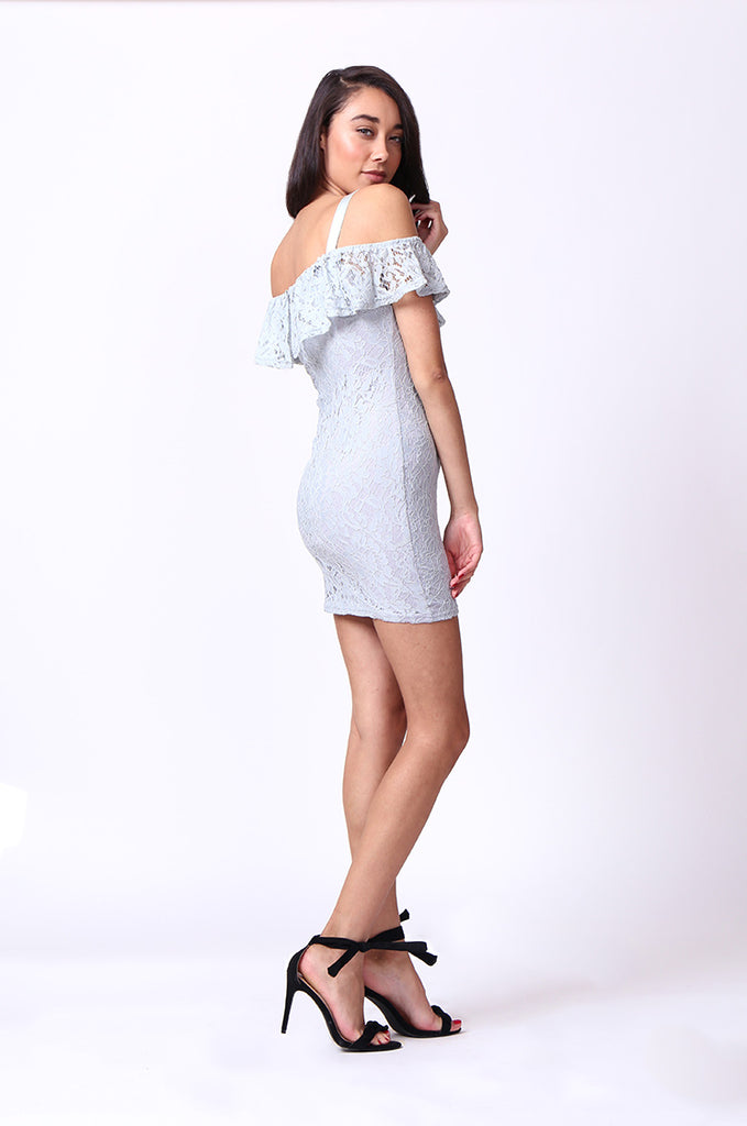 SPF0014-GREY LACE MINI DRESS view 4