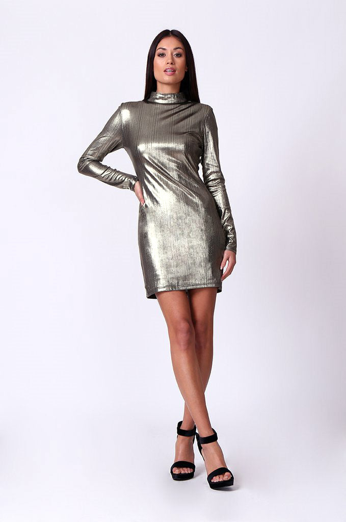 SD0201-GOLD METALLIC FOIL MOCK NECK MINI DRESS view 4