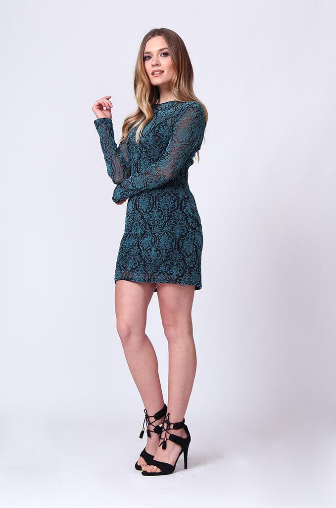 SD0197-TURQUOISE BROCADE VELVET BURN OUT MINI DRESS view 4