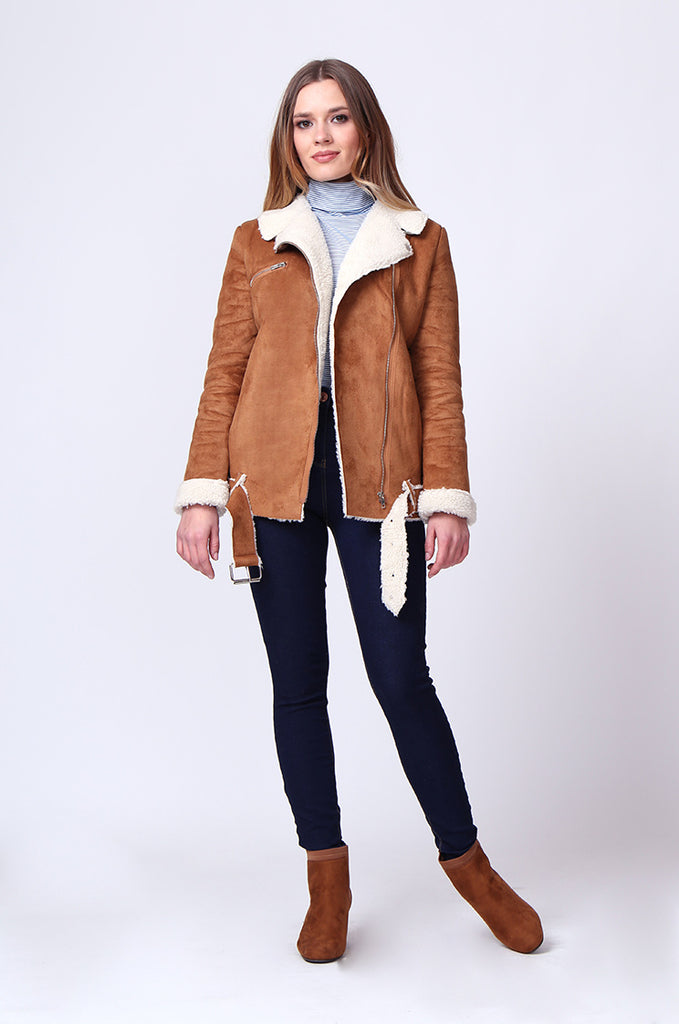 SD0194-TAN SUEDE LONG LINE SHERLING AVIATOR JACKET view 4