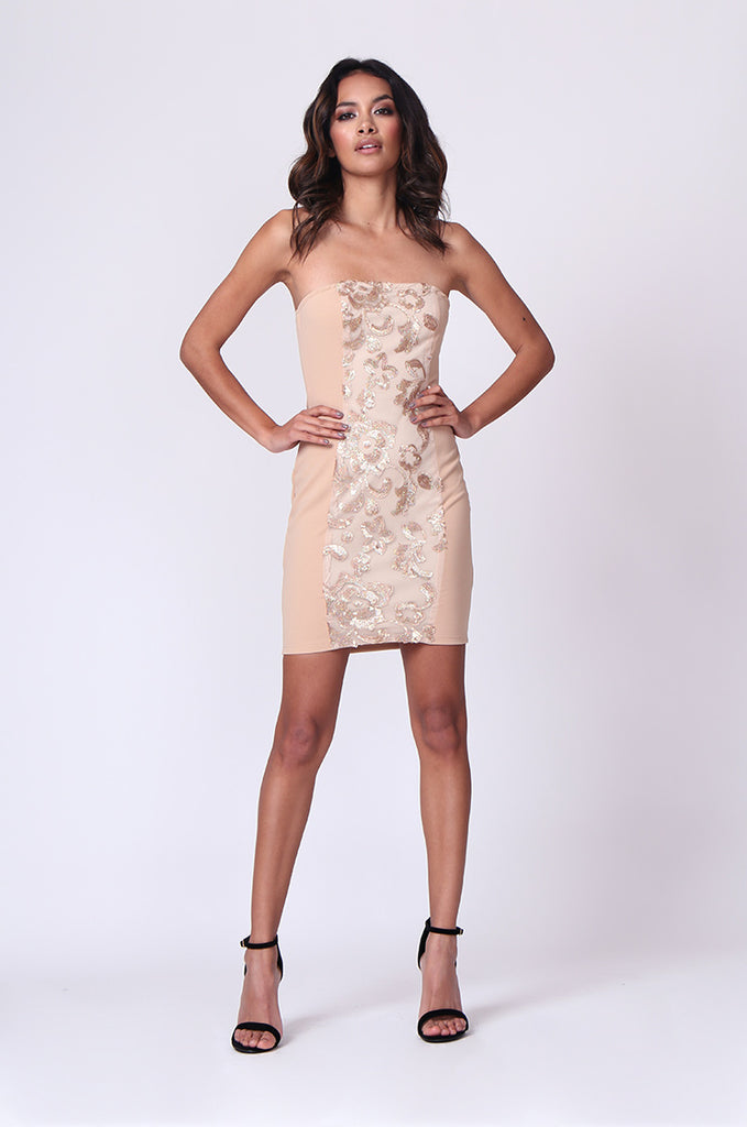 SPF0261-GOLD STRAPLESS SEQUIN PANEL MINI DRESS view main view