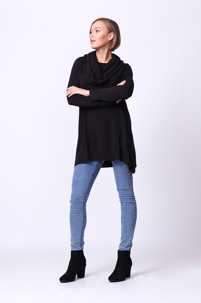 COWL NECK LONGLINE TOP