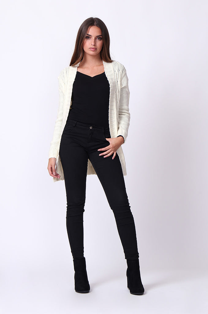 SF0067-CREAM LONGLINE CABLE KNIT CARDIGAN view 4