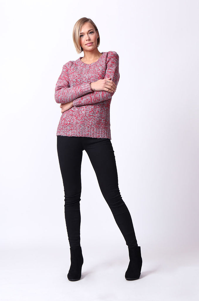 SF0072-GREY TWEEDY LONG SLEEVE CABLE KNIT JUMPER view 4