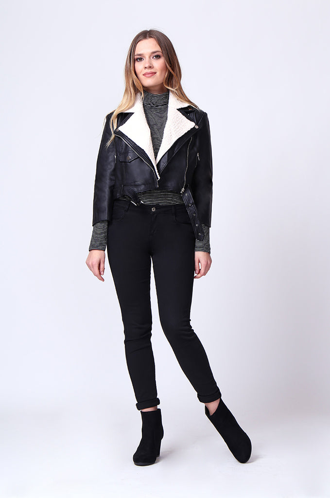 SD0195-BLACK MOTO PU BIKER JACKET view 4