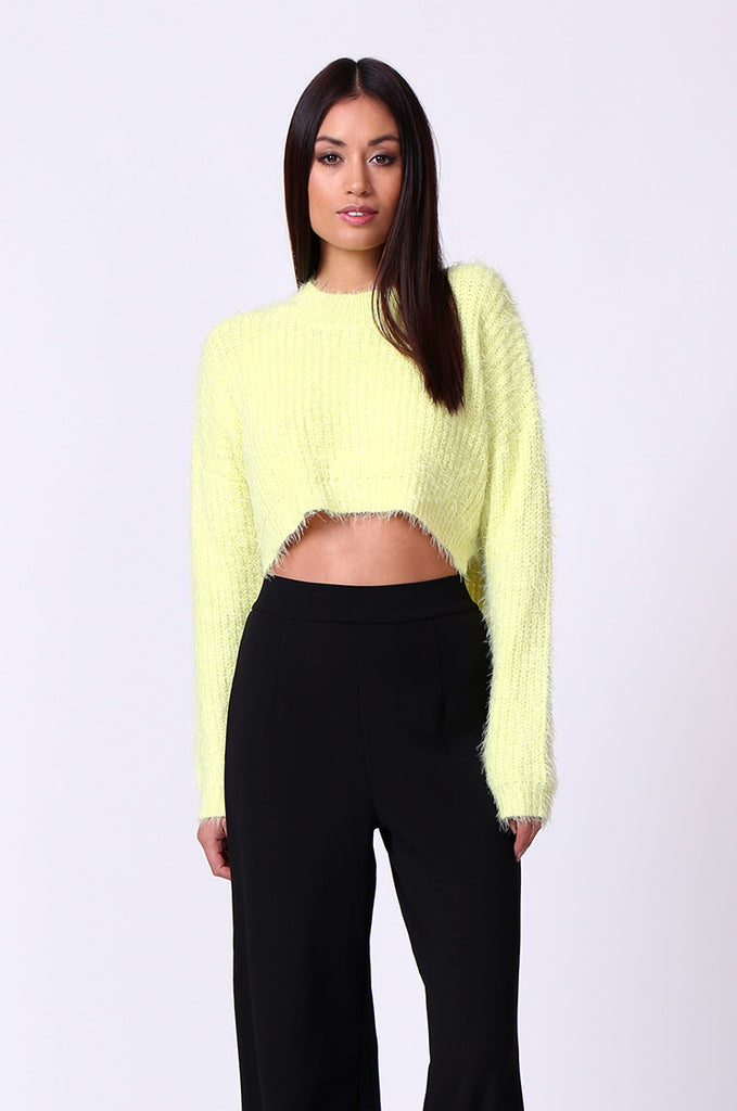 MOHAIR LONG SLEEVE CROP JUMPER