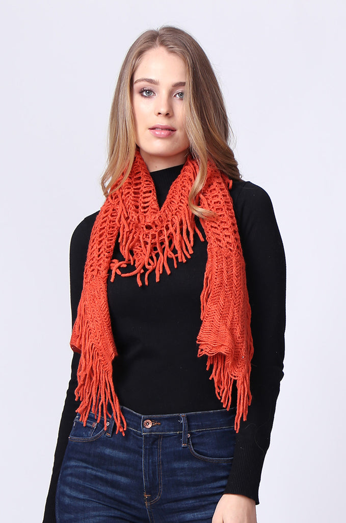 SMC0086-ORANGE WAFFLE HOLE SCARF view main view