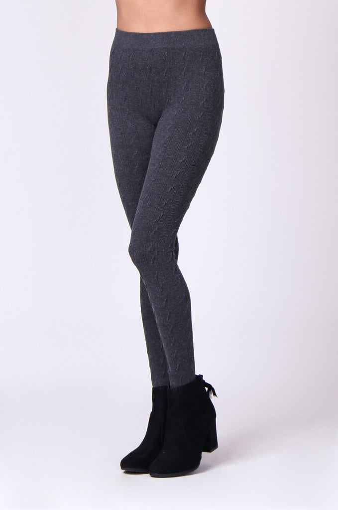 SP0126-GREY BASIC CABLE KNIT LEGGING view 5