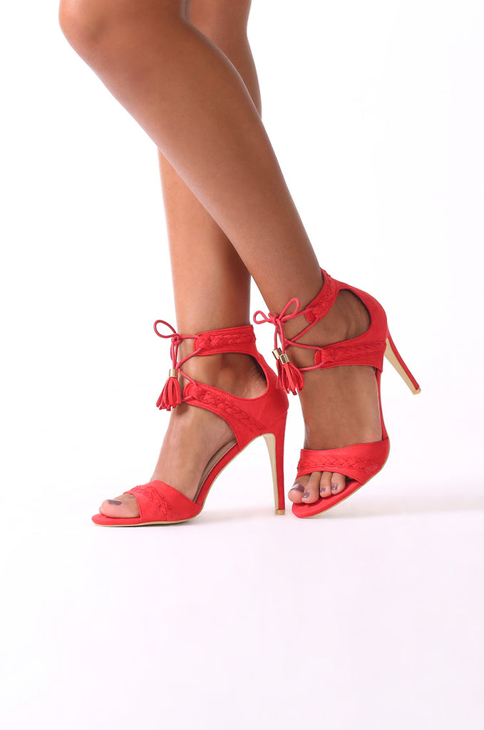 SCM0078-RED SUEDE PLAIT STRAPPY HEELS view main view